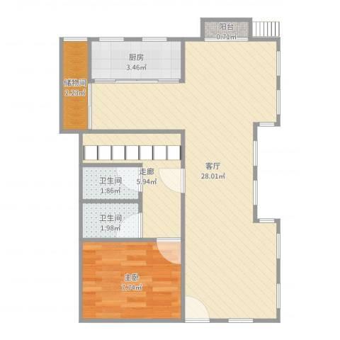 长泰西郊别墅1室1厅2卫1厨65.00㎡户型图