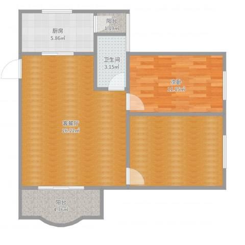 顺德碧桂园花园区1室2厅1卫1厨83.00㎡户型图