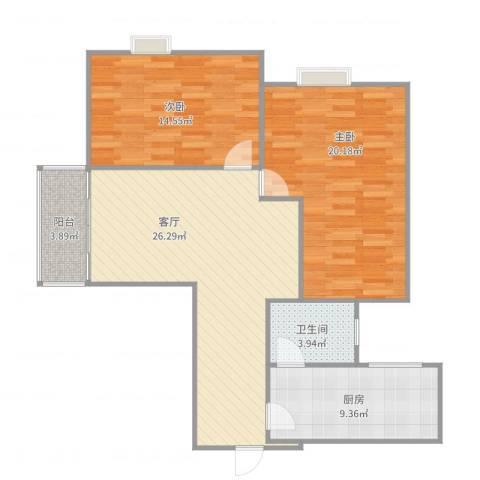 名汇大厦2室1厅1卫1厨98.00㎡户型图