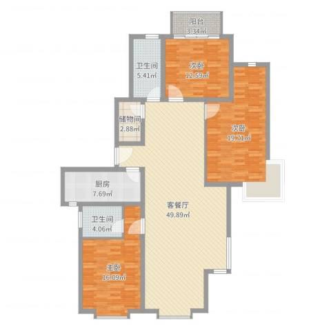 永业仁德坊3室2厅2卫1厨152.00㎡户型图