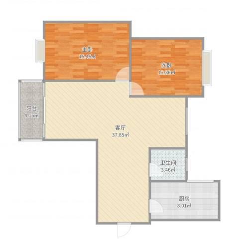 名汇大厦2室1厅1卫1厨108.00㎡户型图