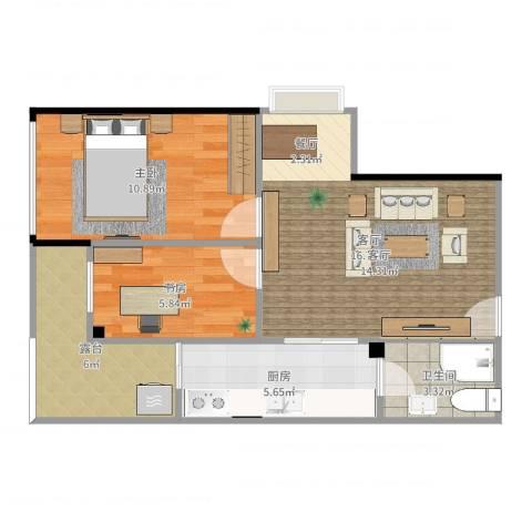 富力新居2室1厅1卫1厨61.00㎡户型图