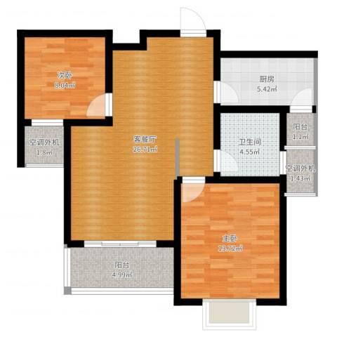 开源古楚名苑2室2厅1卫1厨85.00㎡户型图