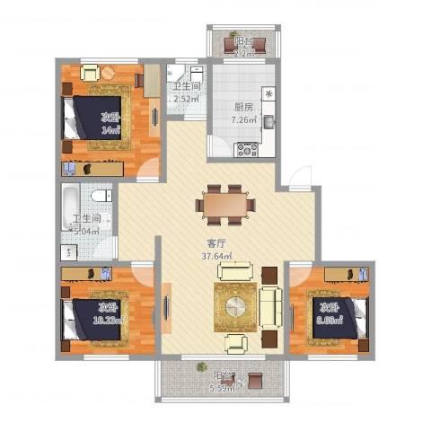 华高新苑北苑3室1厅2卫1厨116.00㎡户型图