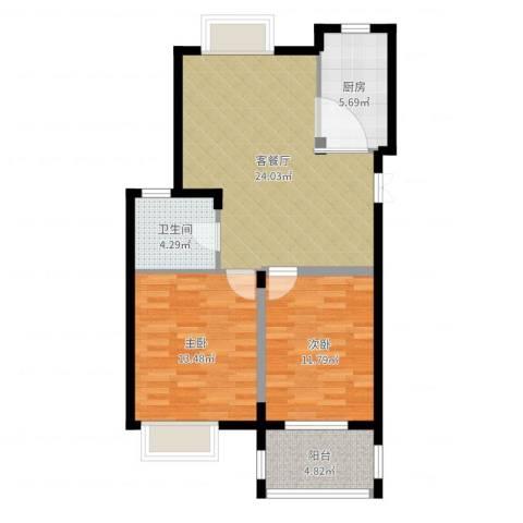 伊萨卡排屋2室2厅1卫1厨80.00㎡户型图