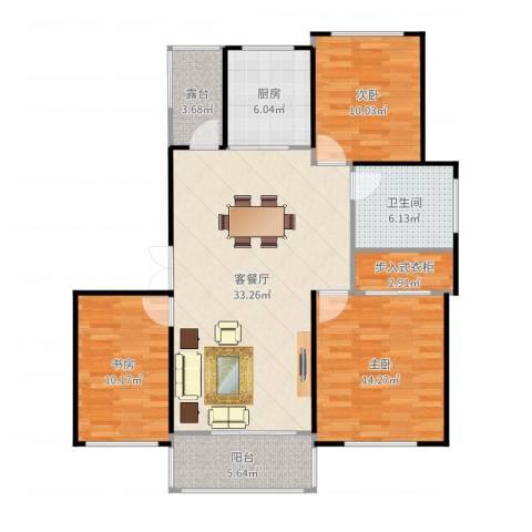 夏家桥118号3室2厅1卫1厨115.00㎡户型图