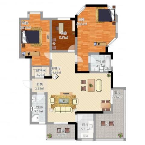 小岛花园城四期3室2厅2卫1厨183.00㎡户型图