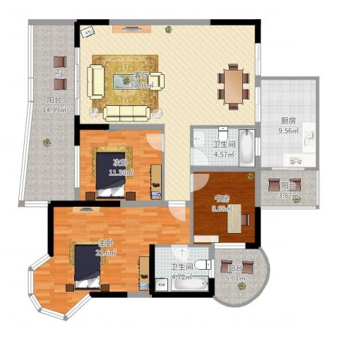 凯信水韵滨江二期公园大帝3室1厅2卫1厨172.00㎡户型图