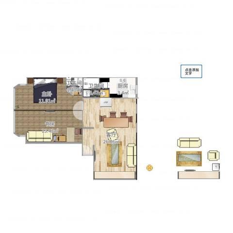 仁宝公寓2室1厅2卫1厨75.00㎡户型图