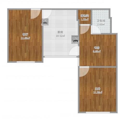 仁宝公寓2室1厅1卫1厨59.00㎡户型图
