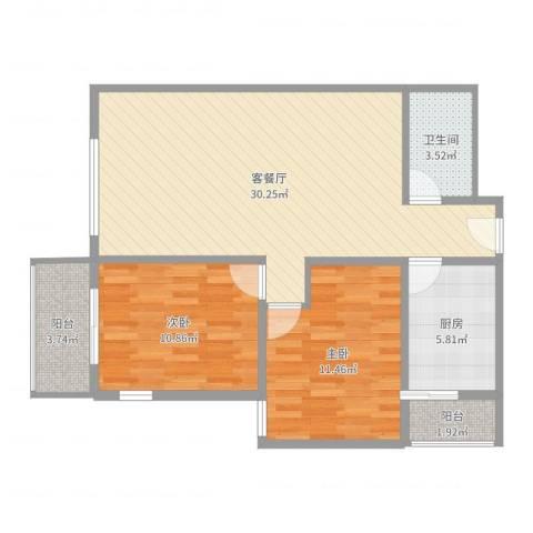 桥苑公寓2室2厅1卫1厨84.00㎡户型图