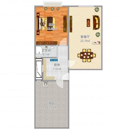 蓬莱路小区1室2厅2卫1厨82.00㎡户型图