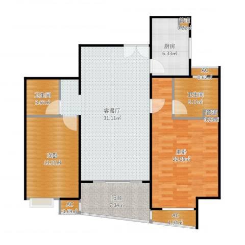蓬莱家园(5号楼)2室2厅2卫1厨114.00㎡户型图