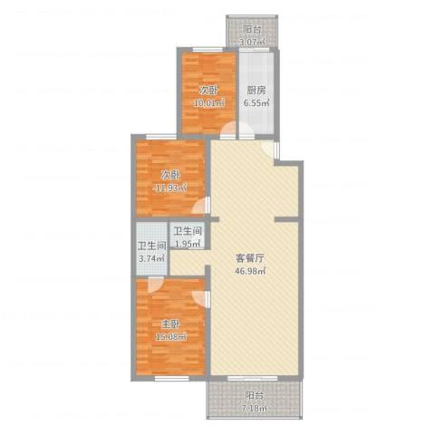 鑫兆丽园亚北新区3室2厅2卫1厨106.49㎡户型图