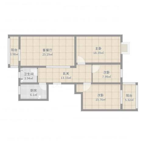 顺河花园3室2厅1卫1厨125.00㎡户型图