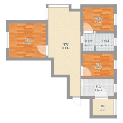 德悦苑10号楼501栋17043室4厅1卫1厨71.00㎡户型图