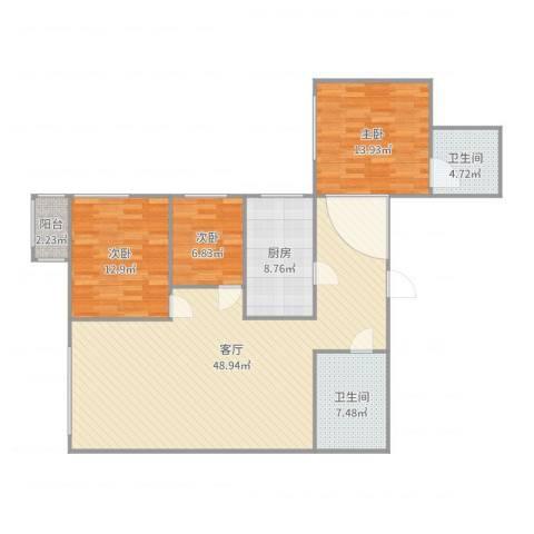 天通苑西三区3室1厅2卫1厨132.00㎡户型图