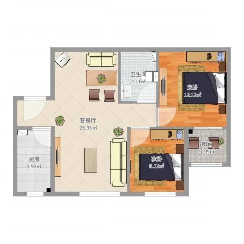 天朗大兴郡区2室2厅1卫1厨74.00㎡户型图