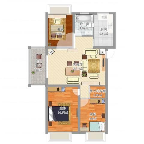 万邦金地花园3室2厅1卫1厨96.00㎡户型图