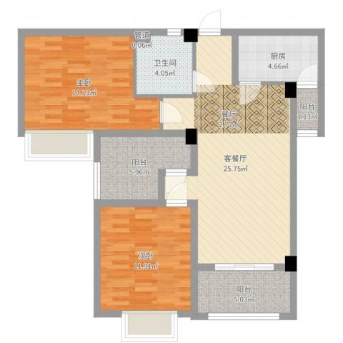 上河城2室2厅1卫1厨91.00㎡户型图