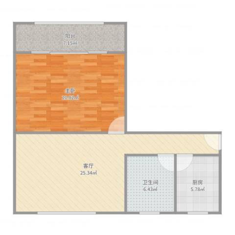 瞿溪新村1室1厅1卫1厨82.00㎡户型图