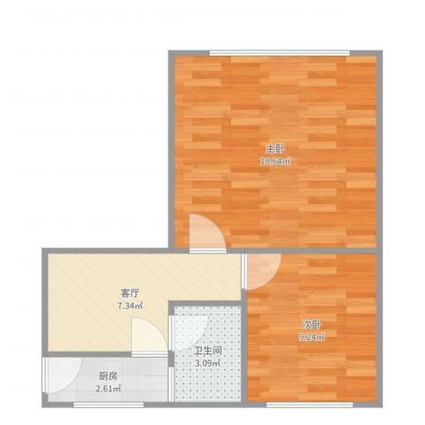 瞿溪新村2室1厅1卫1厨51.00㎡户型图