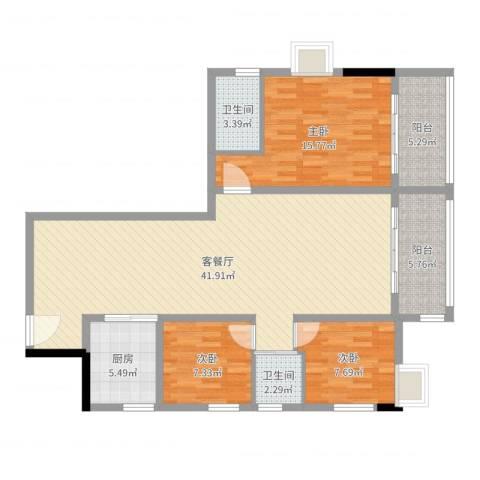 茂名坊3室2厅2卫1厨119.00㎡户型图