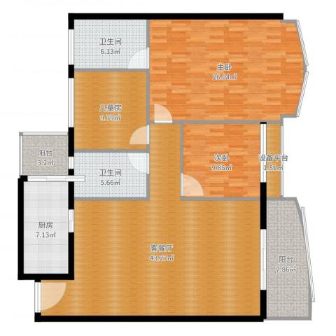 荔城碧桂园3室2厅3卫1厨151.00㎡户型图