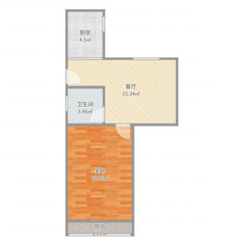 鲁班大楼1室1厅1卫1厨53.00㎡户型图