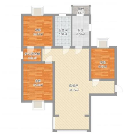 卢湾滨江时代3室2厅1卫1厨109.00㎡户型图