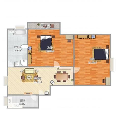 江南世纪新苑2号14032室2厅1卫1厨145.00㎡户型图