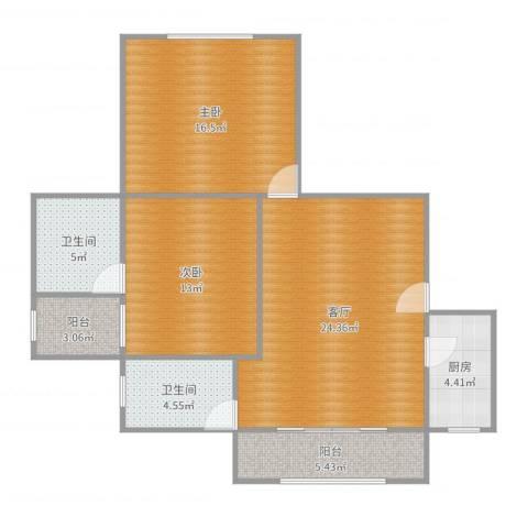 江南世纪新苑2室1厅2卫1厨95.00㎡户型图