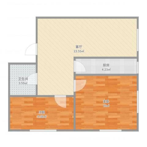 儒园公寓2室1厅1卫1厨70.00㎡户型图
