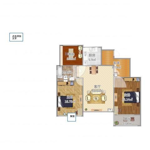 万科龙湾花园3室1厅1卫1厨120.00㎡户型图