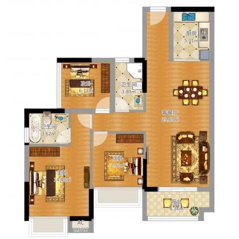 诚丰新园3室2厅2卫1厨76.34㎡户型图