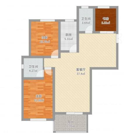 钻石铭苑3室2厅2卫1厨109.00㎡户型图