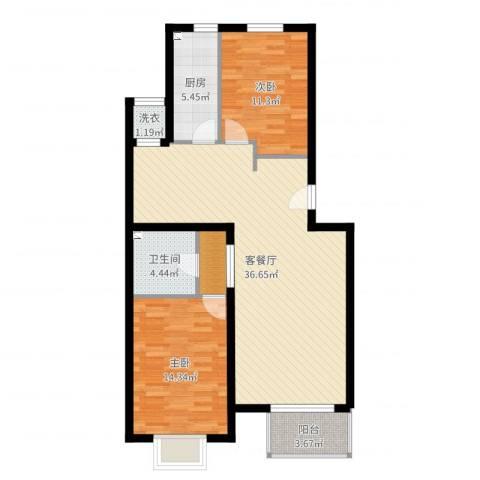 西山枫林2室2厅1卫1厨99.00㎡户型图