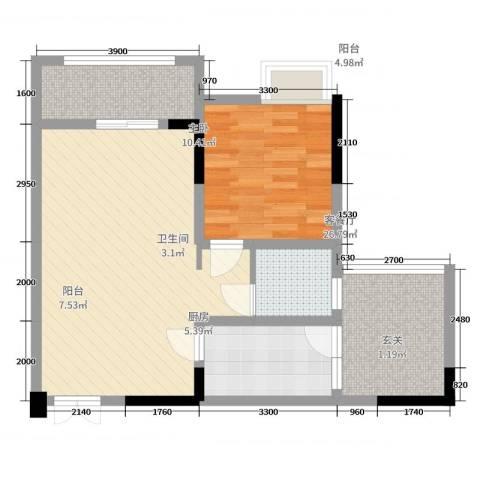 重庆海宇西苑1室2厅1卫1厨60.00㎡户型图