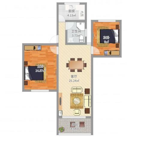 东陆新村六街坊2室1厅1卫1厨77.00㎡户型图