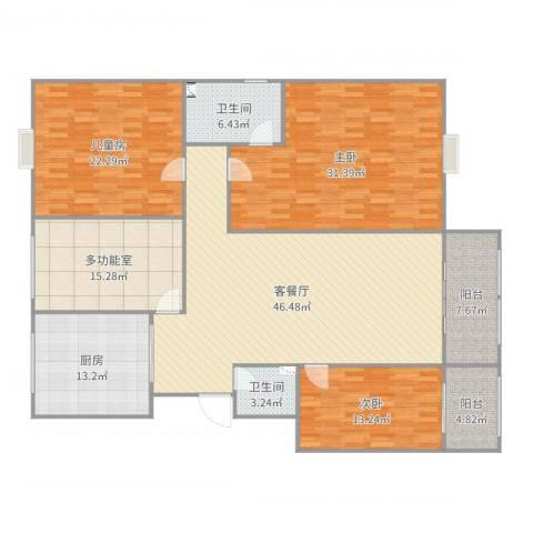 水天福苑3室2厅2卫1厨205.00㎡户型图