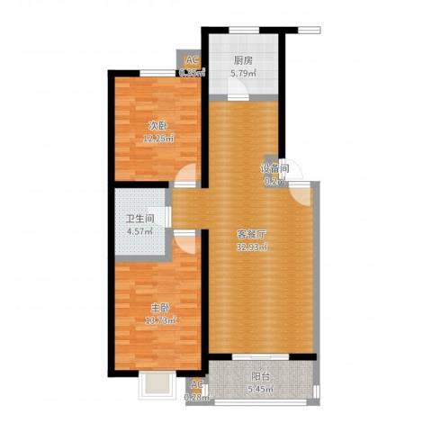 燕语华庭2室2厅1卫1厨94.00㎡户型图