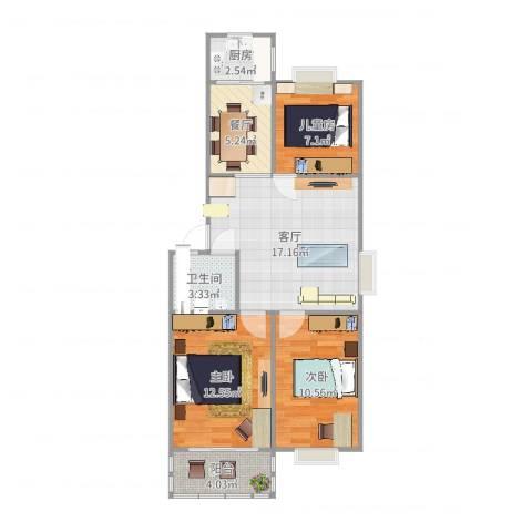 草场门大街123号3室2厅1卫1厨85.00㎡户型图