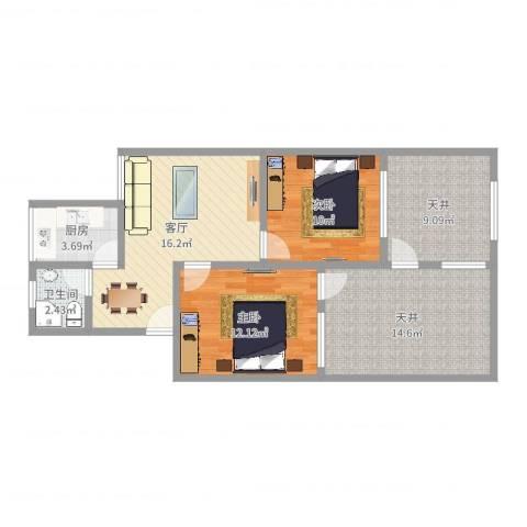 香山新村西南街坊2室1厅1卫1厨85.00㎡户型图