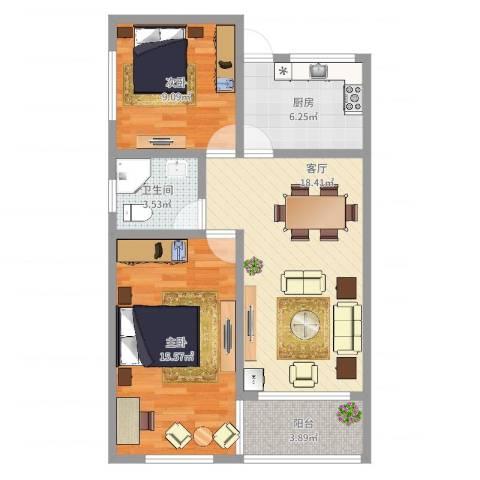 博山小区2室1厅1卫1厨71.00㎡户型图