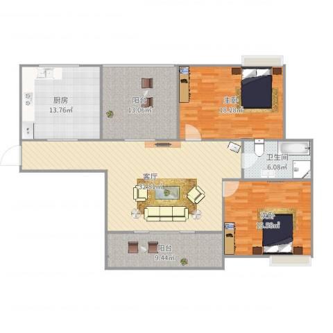 颐景苑2室1厅1卫1厨136.00㎡户型图