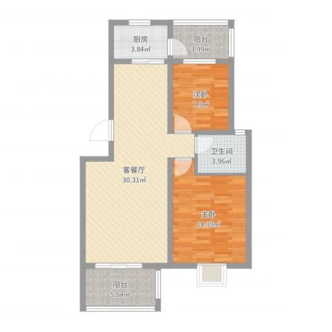 维也纳花园2室2厅1卫1厨88.00㎡户型图