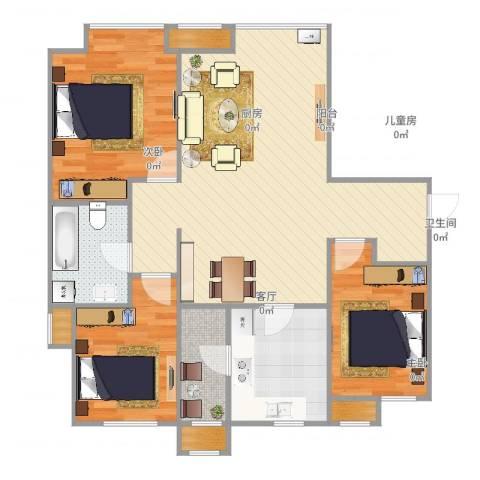 富力新城3室1厅1卫1厨103.00㎡户型图