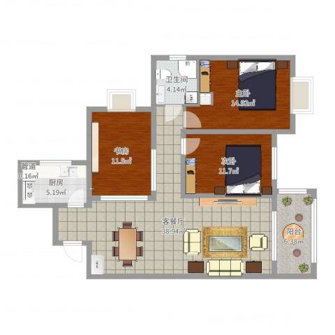 府西国际公寓3室2厅2卫1厨92.94㎡户型图