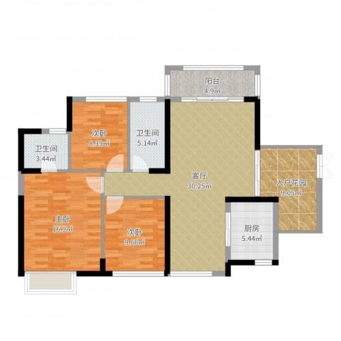 依云上城3室1厅2卫1厨116.00㎡户型图