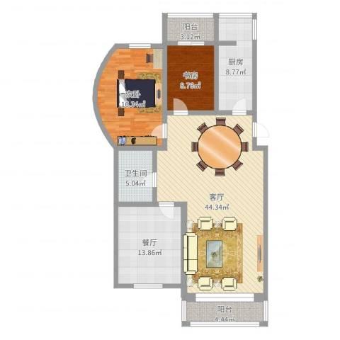 长达公寓2室2厅1卫1厨131.00㎡户型图